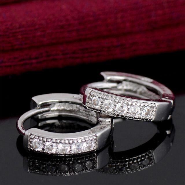 Crystal 925 Silver Plated Earrings White Zircon Crystal Hoop Earrings Jewelry