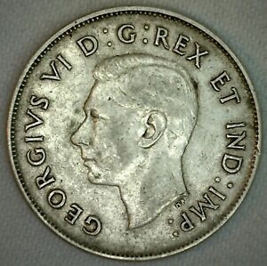 1946-Canada-Silver-Half-Dollar-50c-Canadian-Coin-Fifty-Cent-Silver-VF-Very-Fine