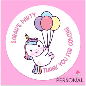 Personalised Unicorn Birthday Stickers Thank You for Coming Party Bag Sweet Cone