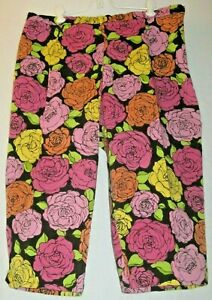 Briggs-New-York-Size-18-Bright-Floral-Stretchy-Cropped-Pants