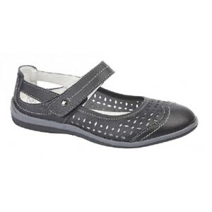 Boulevard Sophie Leather Touch Fastening Perforated Summer Bar Shoes Navy Leathe