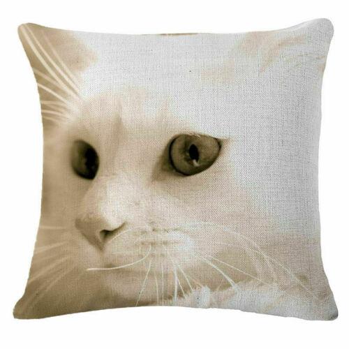 "Cushion Cover Cat & Horse Throw Pillow Case Linen  Sofa Car Waist Home Decor18/"""