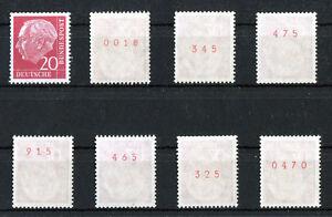 1 x Bund 185 y R postfrisch Heuss Lumogen Rollenmarke rote Zählnummer Heuss I