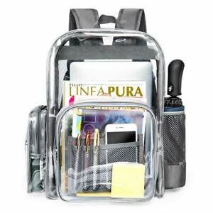Clear Backpack,Heavy Duty Clear Backpack for School Reinforced Students Book Bag
