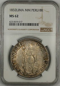 1832-Lima MM Peru 8 Reales Silver Coin NGC MS-62