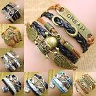 PU Leder Armband Wickelarmband Vintage Freundschaft Lederarmband Infinity Love