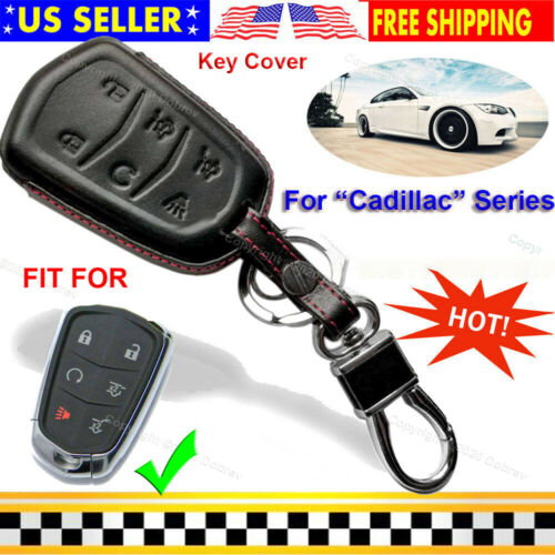Genuine Leather Case Protector Fob Cover Holder for Cadillac Escalade Smart Key