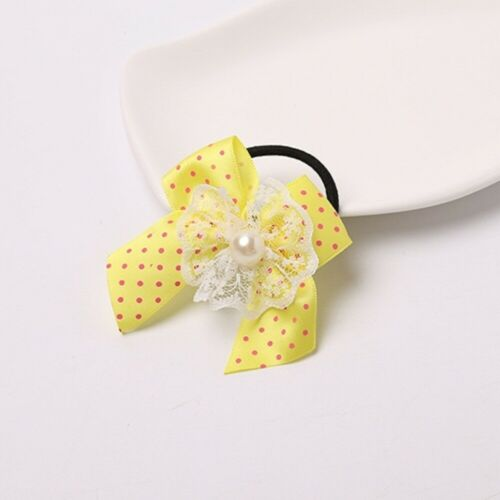 Children Dot Lace Print Bow Hairpin Rubber Band Kid Girl Pearl Hair Accessory