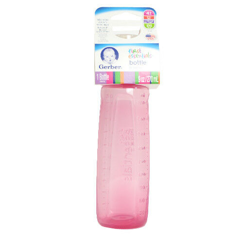 GERBER First Essentials 9oz Baby Bottle Plastic Green Pink Blue Pastel 3 ct  H3
