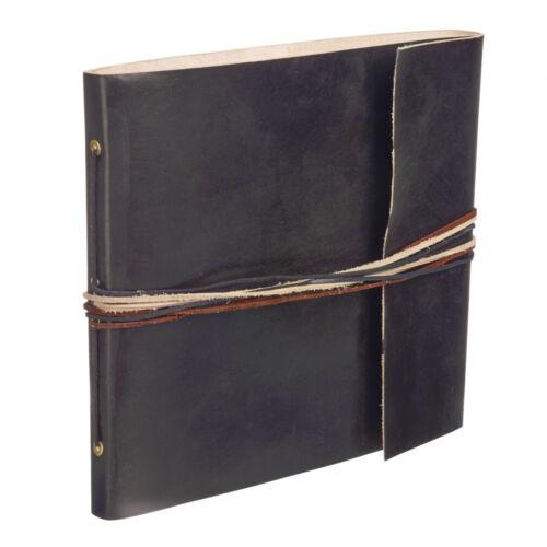 Comercio Justo Hecho a Mano 3 Cuerdas Negro Cuero álbum De Fotos Scrapbook 2nd Calidad