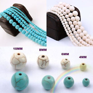 20-100-Natural-White-Blue-Turquoise-Loose-Spacer-Beads-Charm-Gemstone-4-6-8-10mm