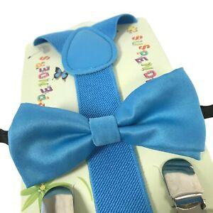 """BLUE"" Matching Suspender & Bow-Tie Set Kids Toddler Baby ..."