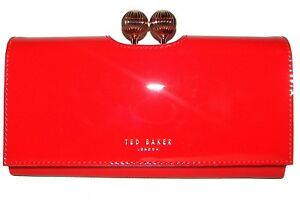 b04e8cb70 Image is loading TED-BAKER-Red-Patent-Leather-Bifold-Clutch-Wallet-