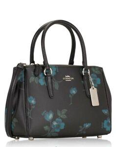 Original-COACH-Mini-Surrey-Satchel-Bag-Brown-Floral-Blue-F88562-Zipper