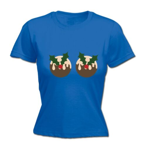 Christmas Pud WOMENS T-SHIRT Santa Boobs Dinner Funny Present Tee birthday gift