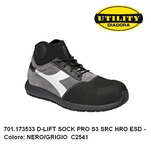 Diadora Scarpe antinfortunistiche D Lift Sock Pro S3 SRC HRO ESD 173533 nerogrigio C2541