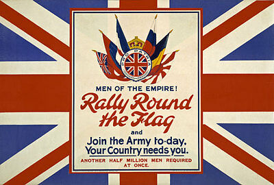 WA4 Vintage WWI British Rally Round The Flag Recruitment Poster WW1 A1 A2 A3
