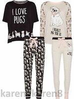 PUG DOG Ladies Pyjamas Primark T Shirt Lounge Pant Leggings
