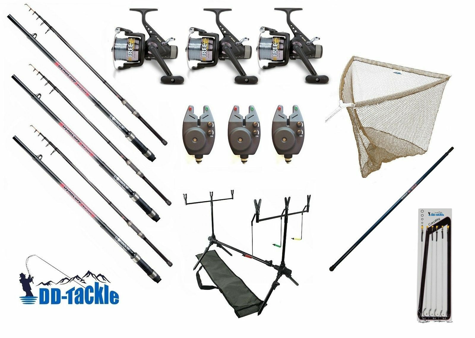 Set Pesca autopa Canne 3,60m 2,75lbs Bobina Indicatore Morso Asta Pod Retino