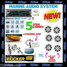 KENWOOD MARINE BOAT BT USB AUX MP3 RADIO + 6 X KICKER MARINE SPEAKERS + 400W AMP