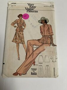 VTG-Vogue-9136-Sewing-Pattern-Sportswear-Jacket-Top-Pants-Skirt-Uncut-FF-Size-14