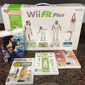 Nintendo Wii Fitness Bundle with Wii Fit plus, Zumba, Active, and Cardio Games