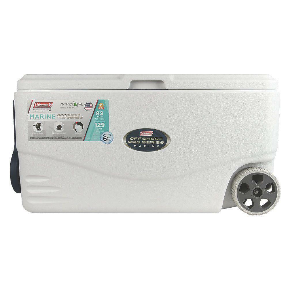 Rust Resistant Weiß 82 Qt.Easy Glide Wheeled Pro Serie Marine Chest Cooler