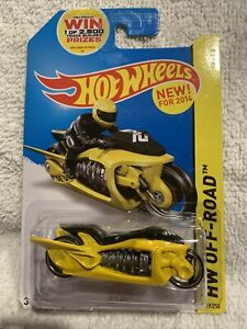 Fly-By #119 of 250 Hot Wheels Die Cast Car Motorcycle 2014 HW Off-Road Yellow B