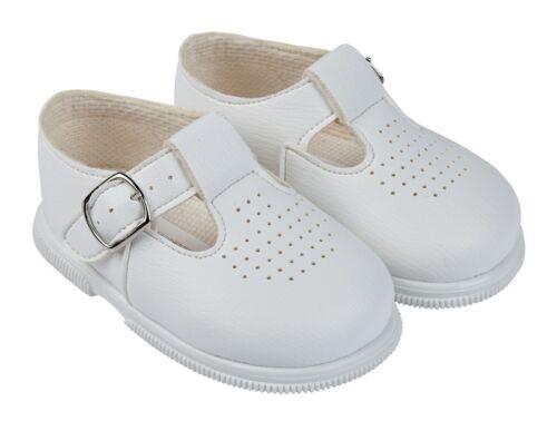 Baby Boys Spanish Style Hard Sole Baypod T-Bar shoes Sky//White//Navy//Black 2-6