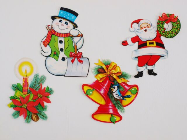 4 super cute unused retro vintage beistle christmas die cut cutout decorations