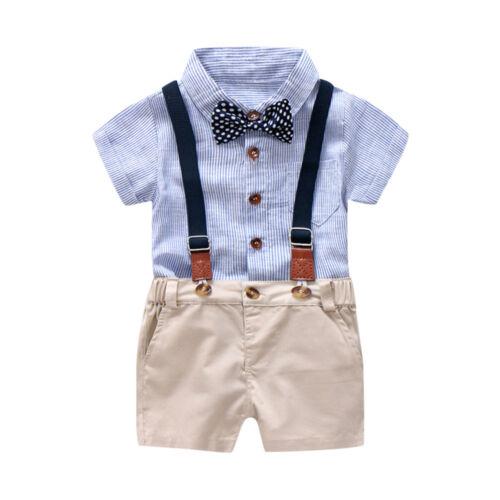2pcs Toddler Kids Baby Boy Short Sleeve Romper Jumpsuit Shirt+Overall Shorts Set