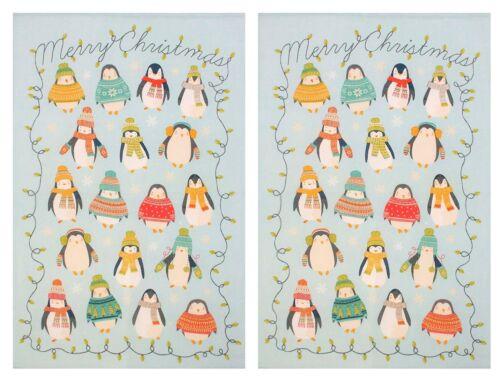 2 Bleu Pingouin De Noël Pull écharpe gants 100/% Coton Cuisine Tea dish towel