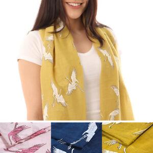 Women-039-s-Fashion-Tropical-Bird-Jungle-Print-Wing-Scarf-Shawl-Wrap-UK-Seller-Crane