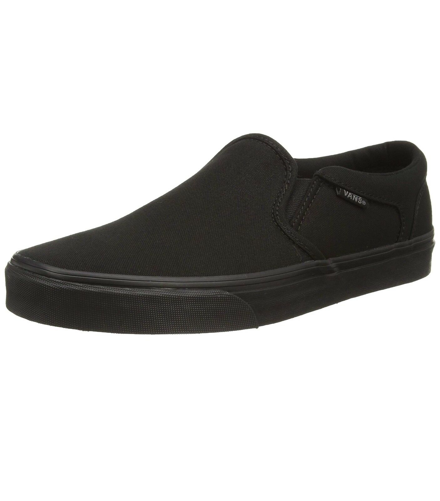 VBNS Bsher Mens Canvas Skater Trainers Plain Shoes Slip On Plimsolls Black