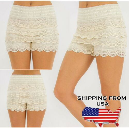 New Fashion Womens Neon Color Sweet Crochet Tiered Lace Shorts Skorts Short New