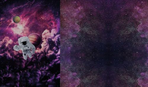 Jersey Stoff PANEL Dreamscape Space Astronaut 65 cm Weltraumstoff Universum