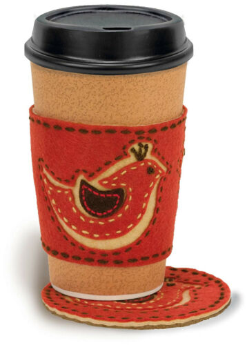 Applique /& Embroidery Kit  ~ Red Bird Coaster /& Coffee Cup Cozy #72-73582