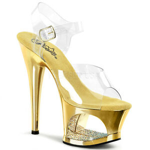 7916caf3fe Image is loading PLEASER-Sexy-Shoes-Exotic-Gold-Chrome-Cutout-Rhinestone-