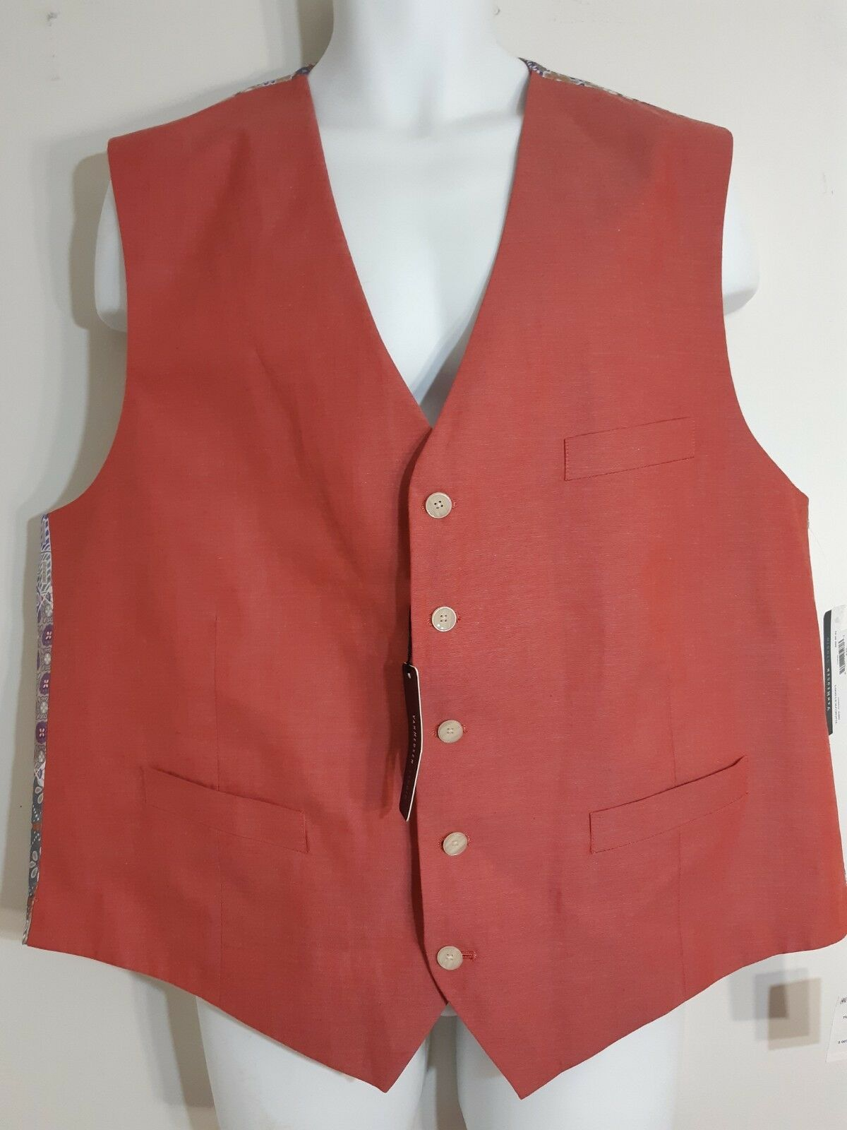 Van Heusen Casual Button Up Dress Vest colorful Pattern Nwts