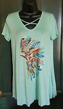 COWGIRL gYPSY Native Indian Headdress Feather Tunic Top Shirt Western LARGE