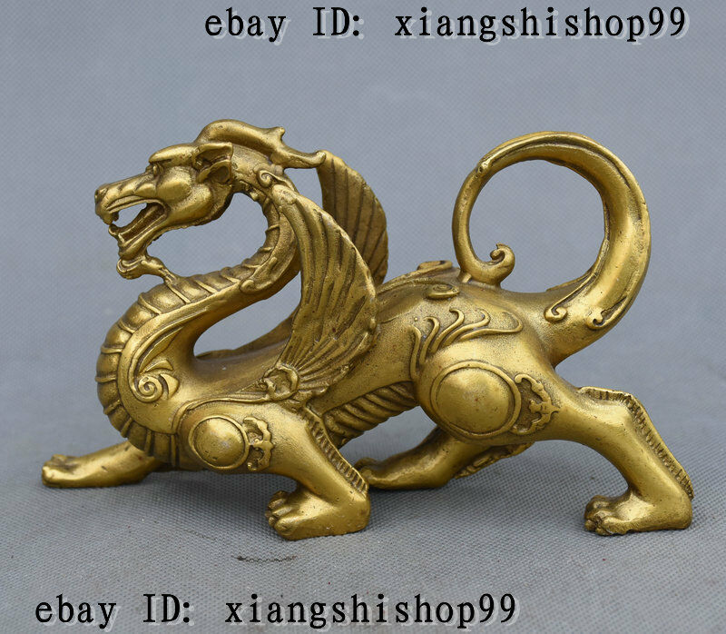 Chinese Fengshui Pure Brass Evil Dragon Kylin Unicorn Wing Beast statue