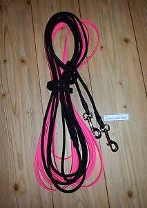 Doppellonge Biothane m. Kordel neon-pink geschmeidig 12-18m lang Breite wählbar