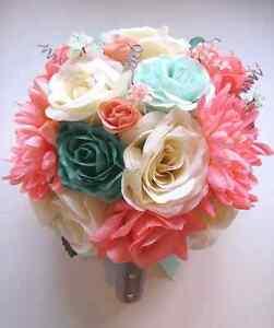 Wedding Bouquet 17 Piece Bridal Silk Flower Coral Teal Green Mint Peach Silver Ebay