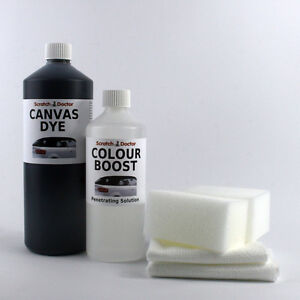 Black Convertible Roof Canvas Dye Kit With Colour Boost