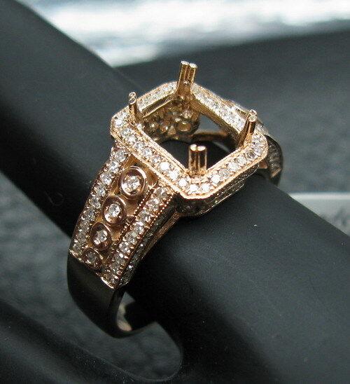 0.50CT SOLID 14K pink gold NATURAL DIAMOND SETTING SEMI RING MOUNT SR058