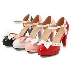 Women-Lolita-Shoes-Bow-Tie-Mary-Jane-Shoes-Platform-Ankle-Strap-D-039-Orsay-Pumps