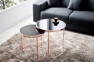 Designer Couchtisch 2er Set Kupfer Mit Glas Tisch Beistelltisch
