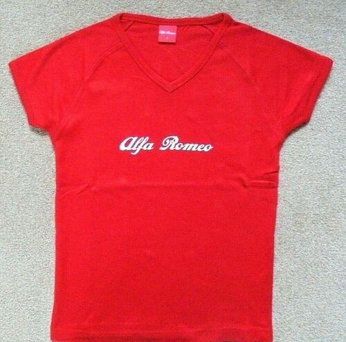 Alfa Romeo Script Ladies Tee Shirt Cotton V Neck Official Product Size 2 M
