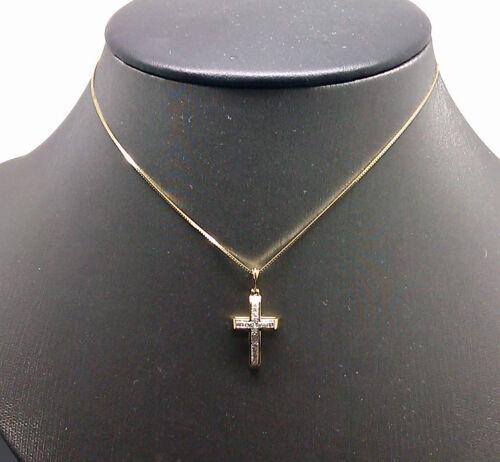 Angel Heart 10K Yellow Gold Cross Pendant With Diamond For Ladies