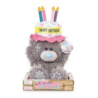"Me to You 7"" Happy Birthday Cake Hat Plush Bday Gift In Box - Tatty Teddy Bear"